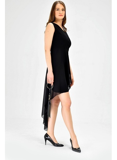 Jument Krep Kruvaze Anvelop Kolsuz Şifon Detaylı Şık Balo Abiye Ebise-Siyah Siyah